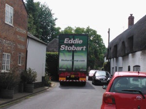 Eddie Stobart turck in Monxton High Street (27 June 2013)