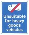 Unsuitable HGV sign with symbol
