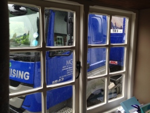 Rather too close - lorry outside The Stables, Monxton on Monday 22 July