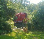 This was a Lamberts Brothers Haulage truck trying to turn right from Chalkpit Lane  up to Manor Farm on 2 August 2013