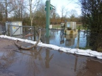 The flooded pumping station at the junction of the High Street and Chalkpit Lane